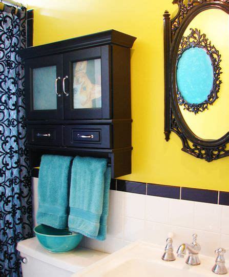 i like the yellow turquoise combo for a bathroom but