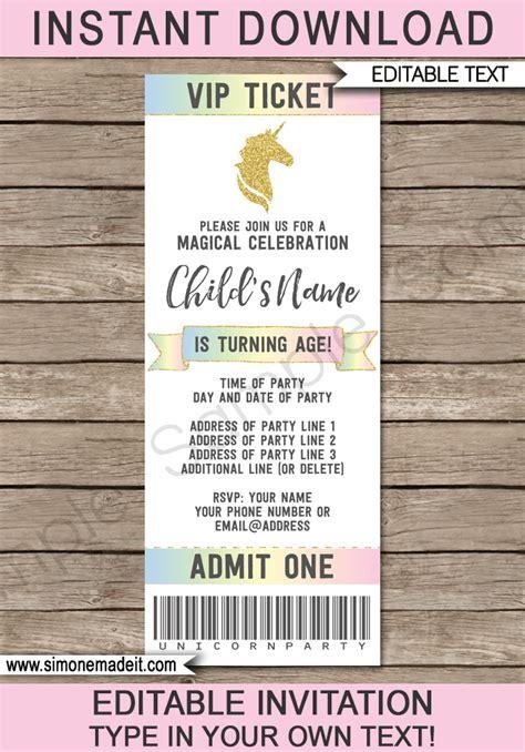 unicorn party ticket invitations template unicorn theme
