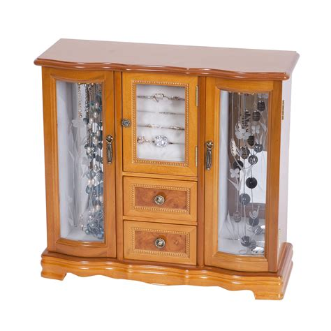 wooden jewellery box with drawers and doors mele co lyra glass door jewelry box in burlwood oak finish