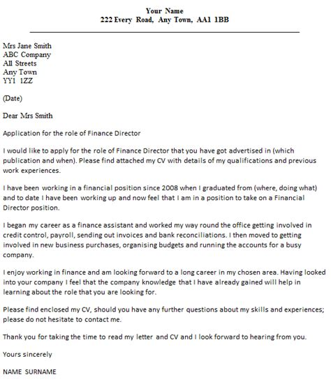 cover letter in finance finance director cover letter exles