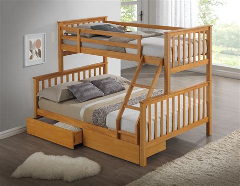 three bed bunk bed beech triple wooden bunk bed childrens kids