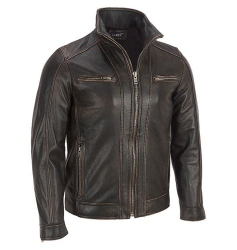 mens moto jacket s black rivet leather faded seam moto jacket
