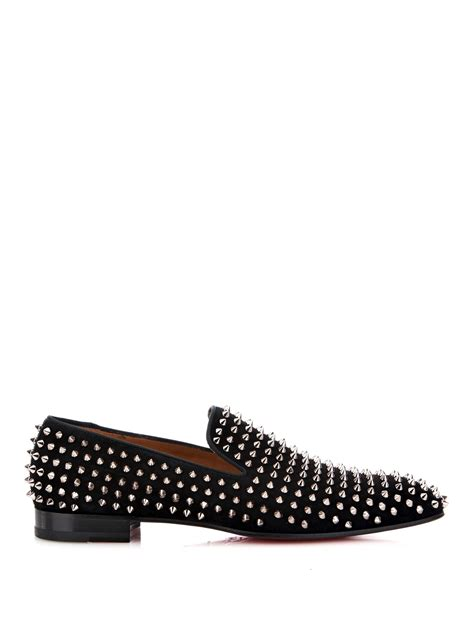 christian louboutin studded loafers lyst christian louboutin dandelion studded suede loafers