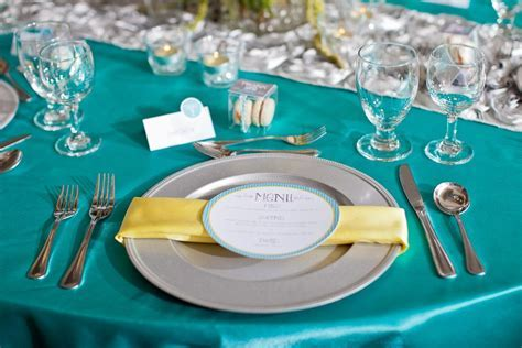grey, yellow, white and turquoise wedding   Blue turquoise