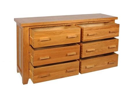 6 Inch Wide Drawers Canterbury Oak 6 Drawer Wide Chest Of Drawers