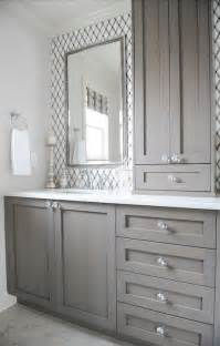 bathroom with lattice tile gray vanity knobs