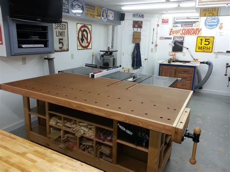 outfeed table workbench google search woodshop