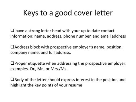 Resume Cover Letter Key Points key to a cover letter docoments ojazlink