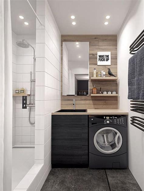 Formidable Meuble Salle De Bain Lave Linge Integre #4: petite-salle-de-bains-avec-lave-linge-noir.jpg