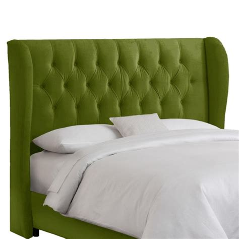green headboards skyline furniture queen tufted wingback headboard in
