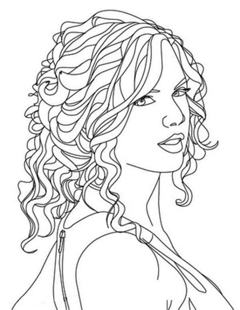 coloring pages of people s hair free printable image of taylor swift to color famous