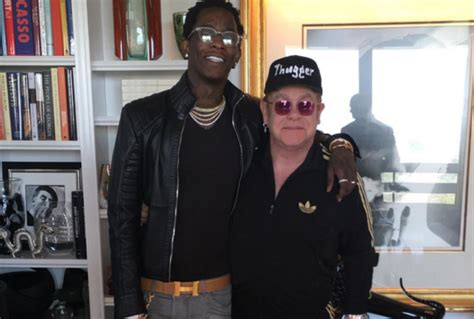 young thug vancouver elton john poses with young thug in quot thugger quot hat further
