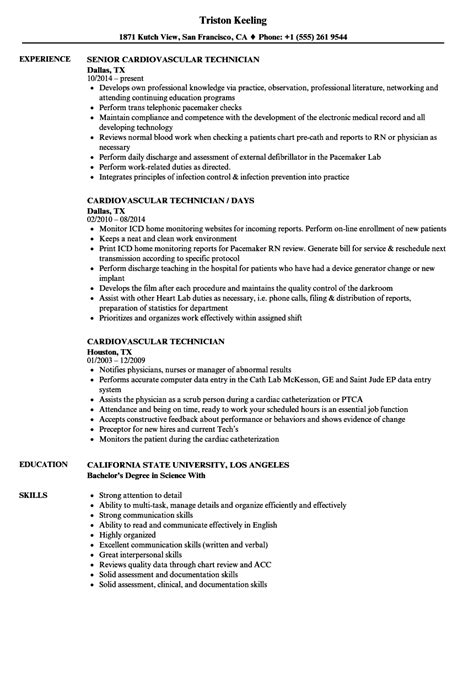 Cardiac Technician Sle Resume by Cardiovascular Technologist Objective Resume Financial Specialists All Other Butcher And