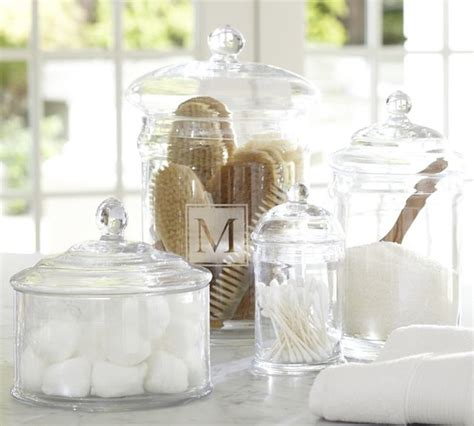bathroom glass jar pb classic glass canisters traditional kitchen