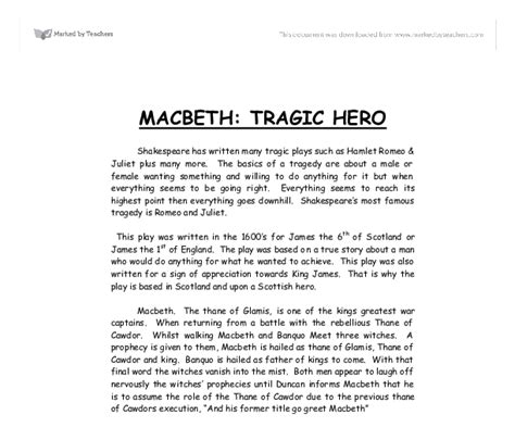 Macbeth Essay by Macbeth Tragic A Level Marked By Teachers