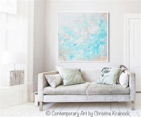 light blue wall art original art blue abstract painting modern coastal aqua