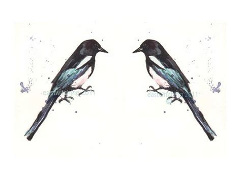 watercolor joy tattoo two for gt birds watercolor magpies pair of prints
