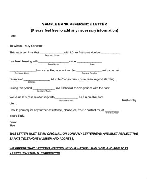 Business Reference Letter To Bank 8 bank reference letter templates free sle exle