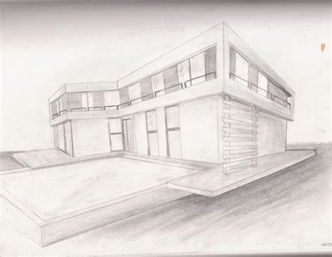 2 Drawings In 1 by Hosue Two Point Perspective Pencil And In Color