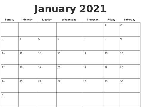 january 2021 free calendar template