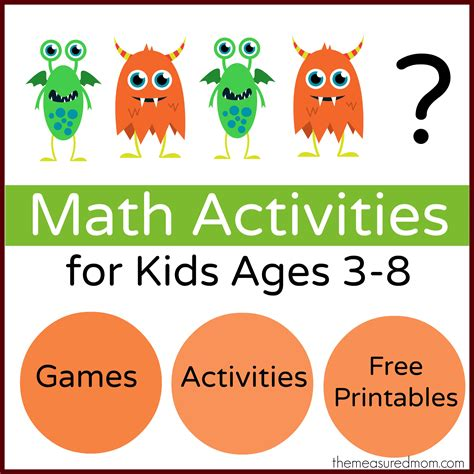 free printable math games for kindergarten students monster math games activities with loads of free