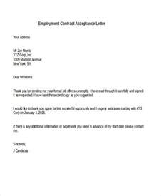 Acceptance Letter For Contract Of Employment 56 Acceptance Letters