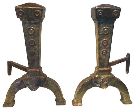 consigned antique copper brass andirons traditional