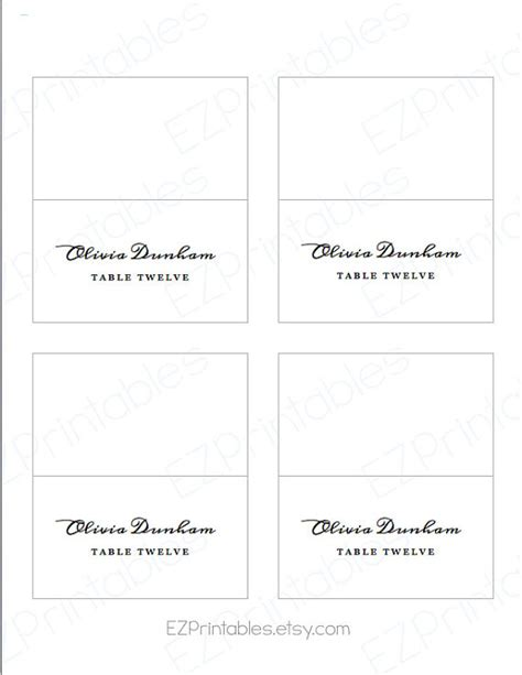 Avery Free Printable Place Card Template by Printable Place Card Avery 5302 Template Instant