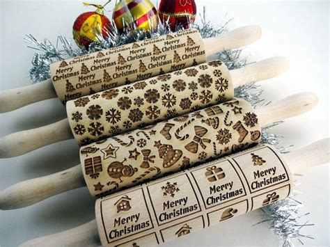 christmas pattern rolling pin 4 christmas or any pattern rolling pin set lazer engraved