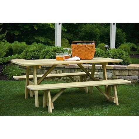 picnic tables with detached benches 6 foot picnic table with 2 detached benches