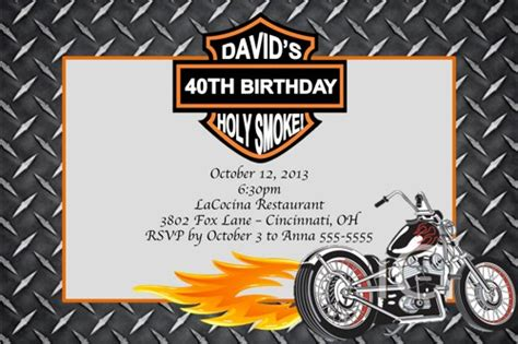 printable birthday cards with motorcycle motorcycle custom designed birthday invitation with or