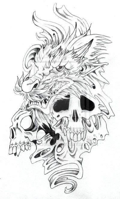 dragon skull tattoo designs and skulls by motoslave on deviantart