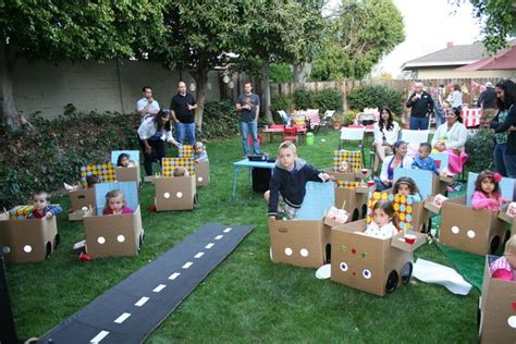 backyard drive in featuring cars birthday ideas