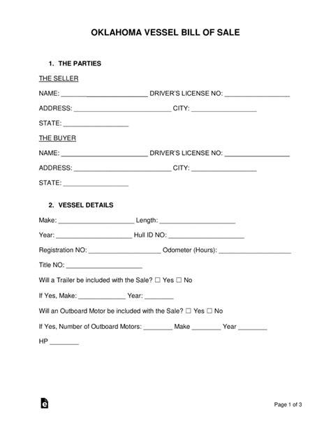 free oklahoma vessel bill of sale form word pdf - Boat Bill Of Sale Oklahoma