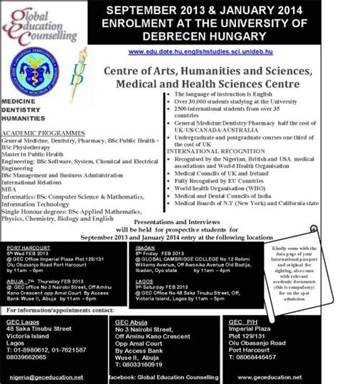 Of Ibadan Mba Programme by Get Admission Into Of Debrecen Hungary At The