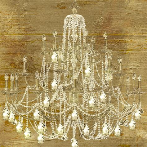 Painting Of Chandelier Lit Chandelier Gold Painting By Sommers