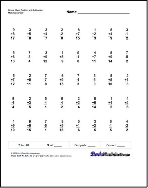 mixed addition and subtraction worksheets that help a lot