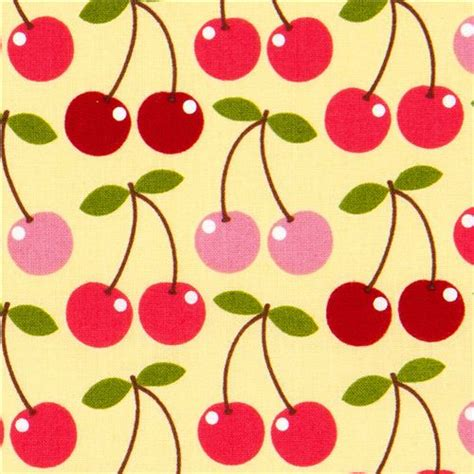 Note1 By Mikay Shop light yellow cherry fabric by timeless treasures usa