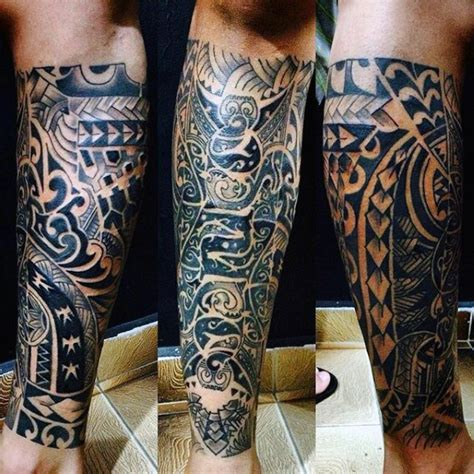 lower half sleeve tattoos maori tribe on mans lower leg half sleeve tatu