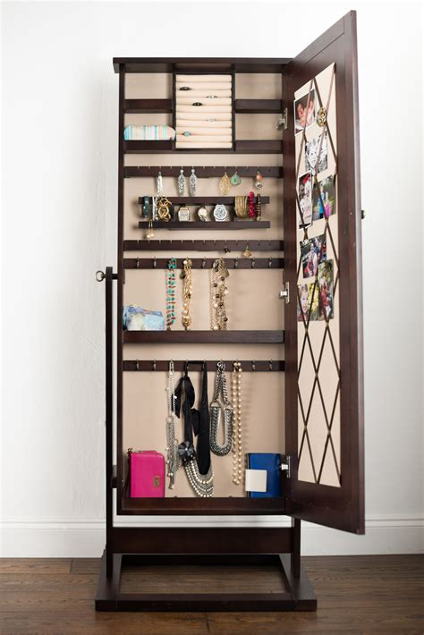 mirror front jewelry armoire cheval jewelry mirror with pinboard walnut hives and honey