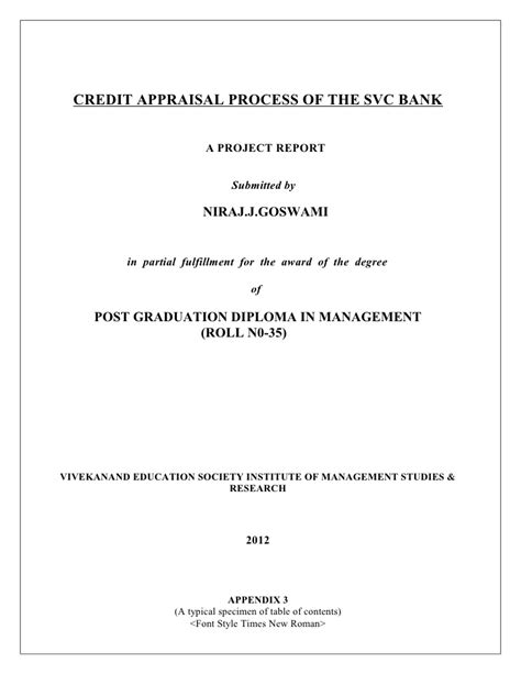 Mba Finance Project On Credit Appraisal by Credit Appraisal