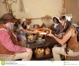 pilgrims and thanksgiving thanksgiving pilgrims eating royalty free stock