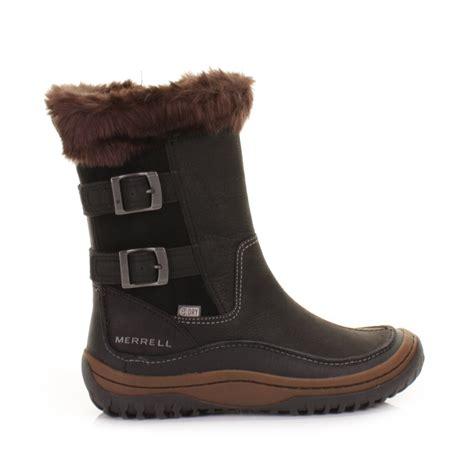waterproof ankle boots womens merrell decora chant black leather waterproof