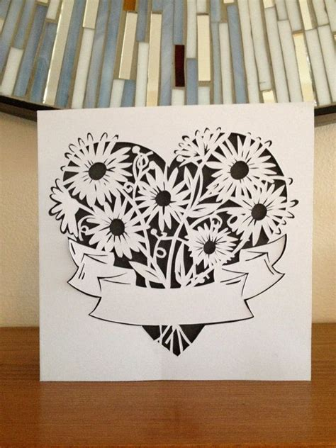 Paper Cut Card Templates by Paper Cut Bouquet S Day Card By