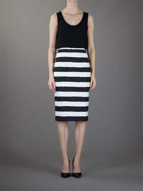 dolce gabbana striped pencil skirt in white black lyst