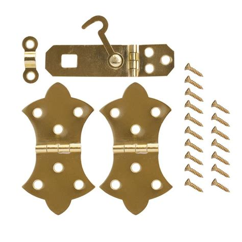 decorative hinges home depot everbilt bright brass decorative hinges and hasp kit 19824