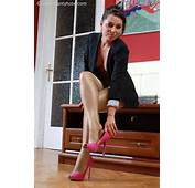 Fukable Shiny Tan Pantyhose Feet With Pink Open Toe Pumps  CROSSED