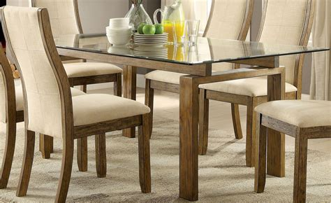 onway oak rectangular glass top dining room set cm3461t