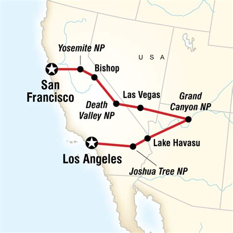 usa map los angeles san francisco los angeles to san francisco express lonely planet