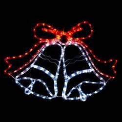 swinging white red led christmas bell rope light indoor